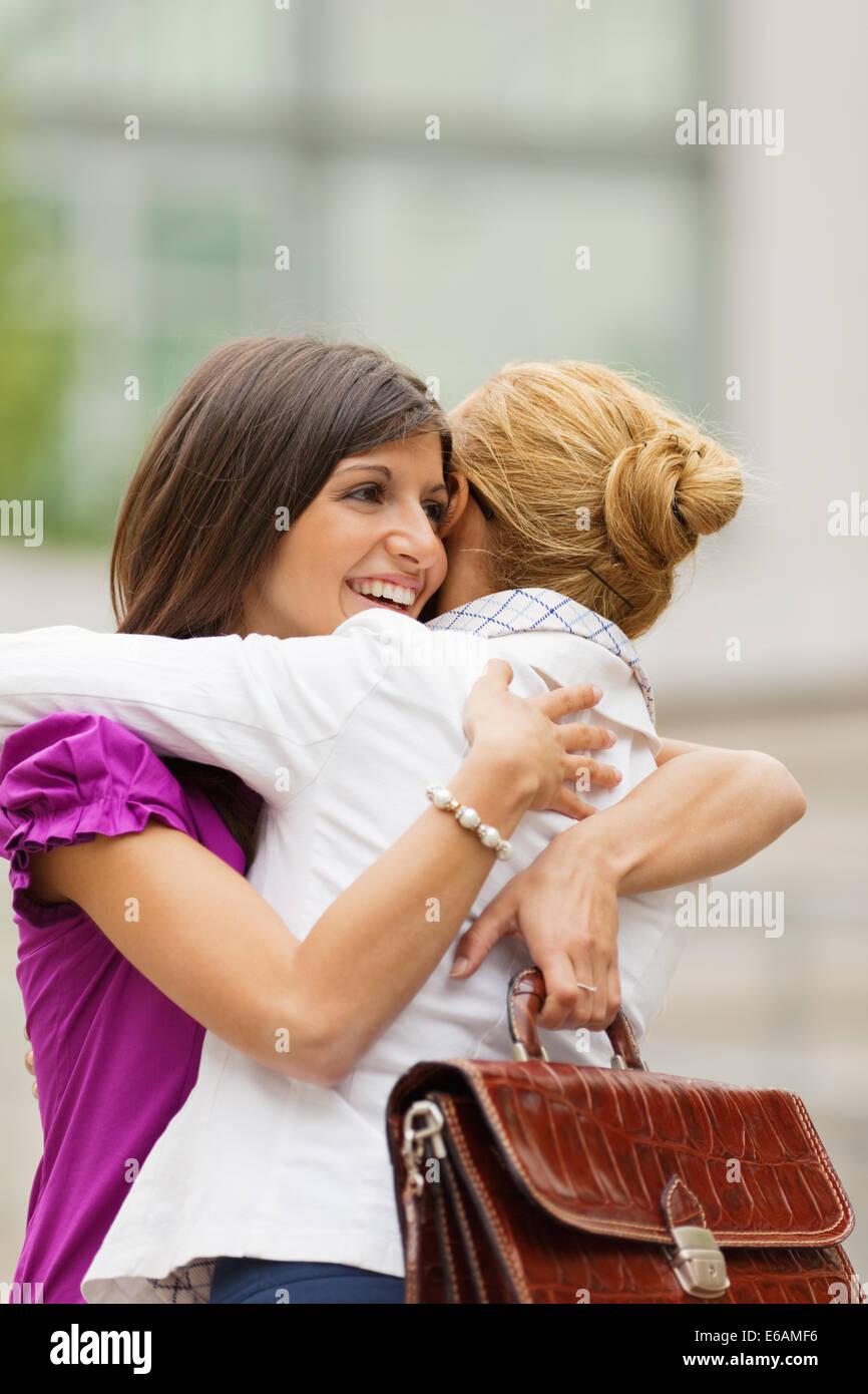 woman,joy,greeting - Stock Image