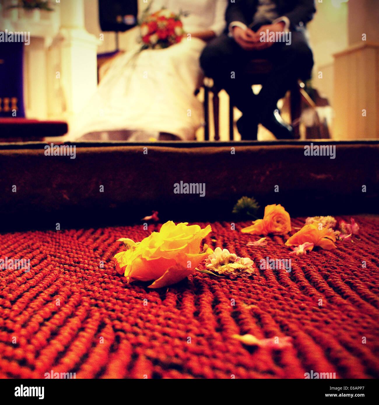 wedding,wedding ceremony,bridal couple - Stock Image