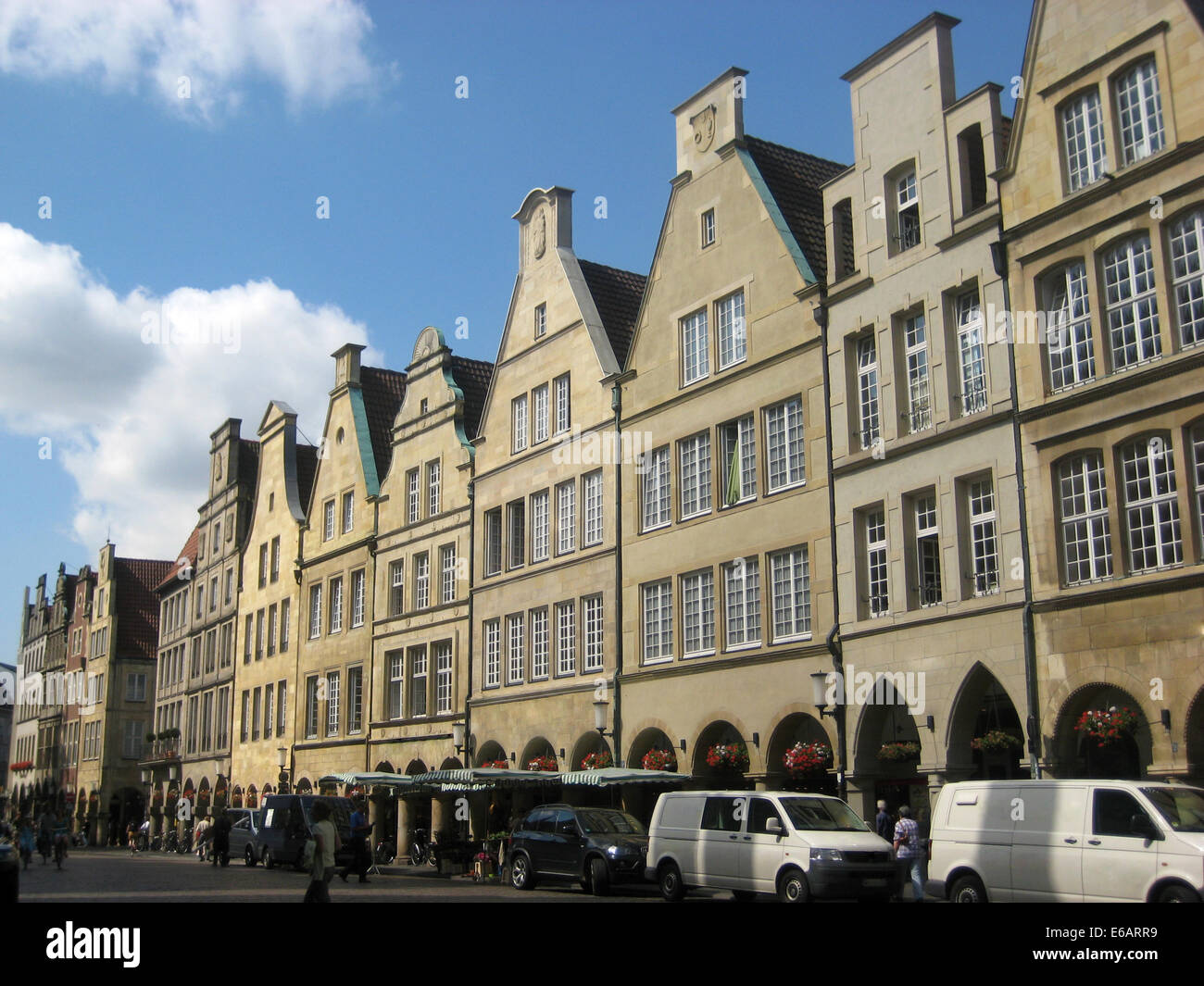 muenster,row of houses,prinzipalmarkt - Stock Image