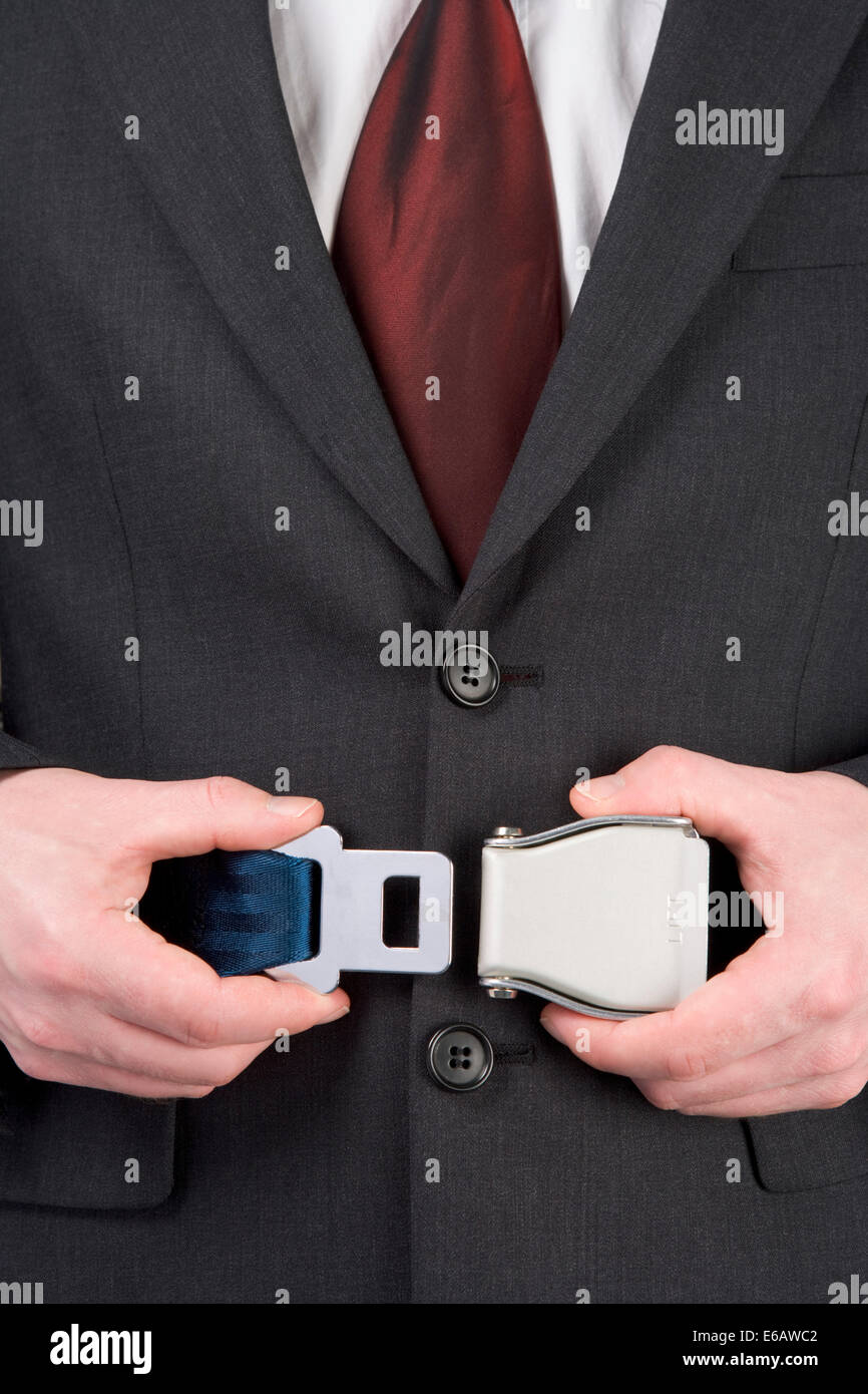 business travel,belting,seat belt - Stock Image