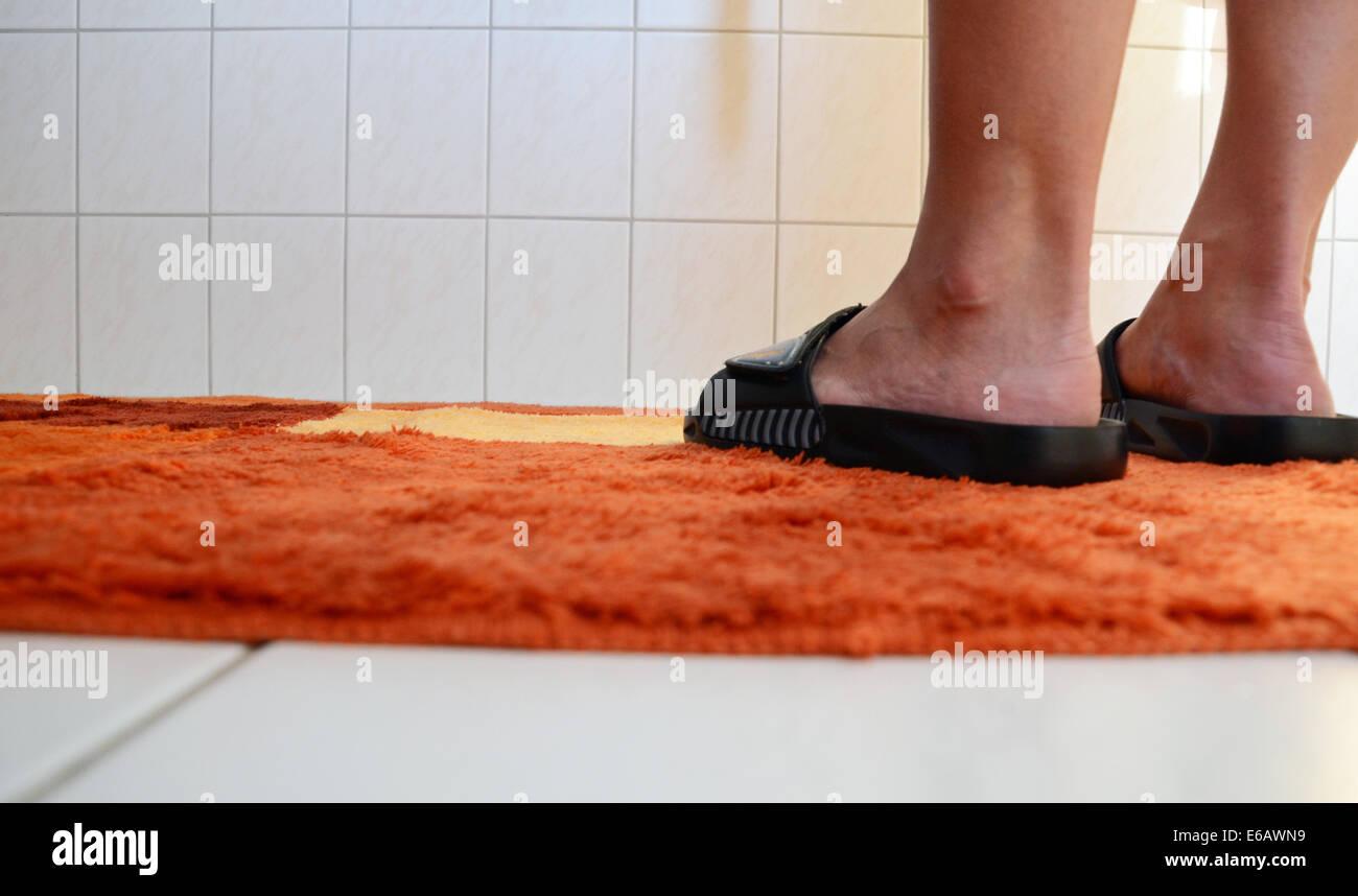 bathroom,sandal,bathroom rug Stock Photo