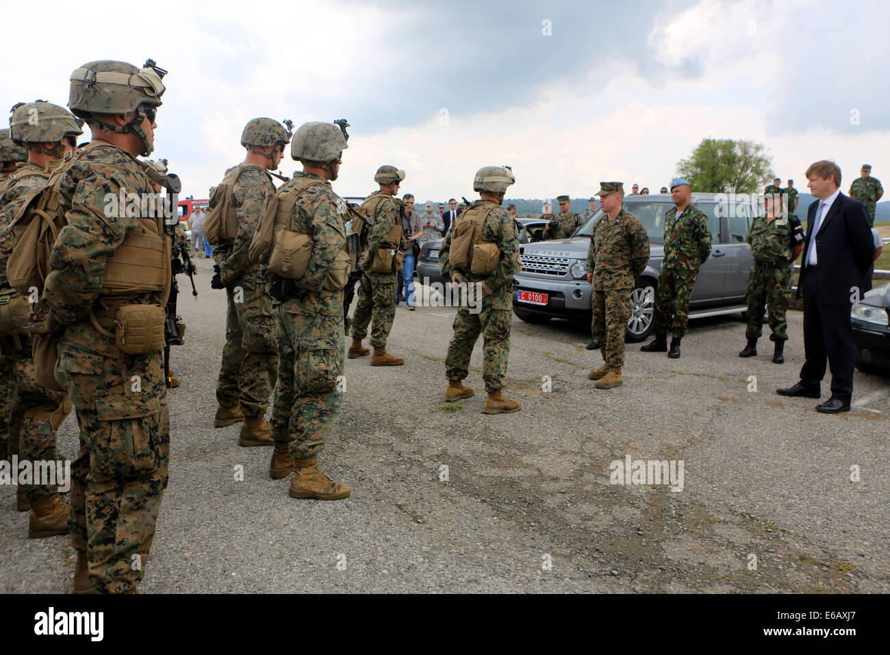 U.S. Marine Corps Lt. Col. Trevor Hall, center right, the commanding officer of the 3rd Battalion, 8th Marine Regiment, - Stock Image