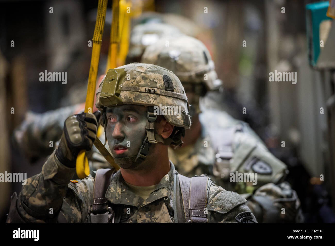 U.S. Army paratroopers assigned to Bravo Company, 3rd Battalion, 509th Infantry Regiment, 4th Airborne Brigade Combat Stock Photo
