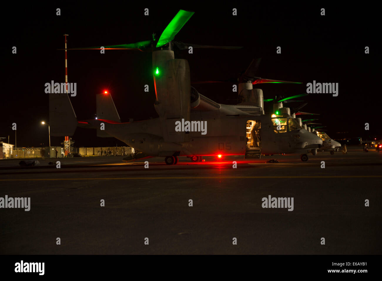 U.S. Marine Corps MV-22B Osprey tiltrotor aircraft assigned to Special Purpose Marine Air-Ground Task Force Crisis Stock Photo
