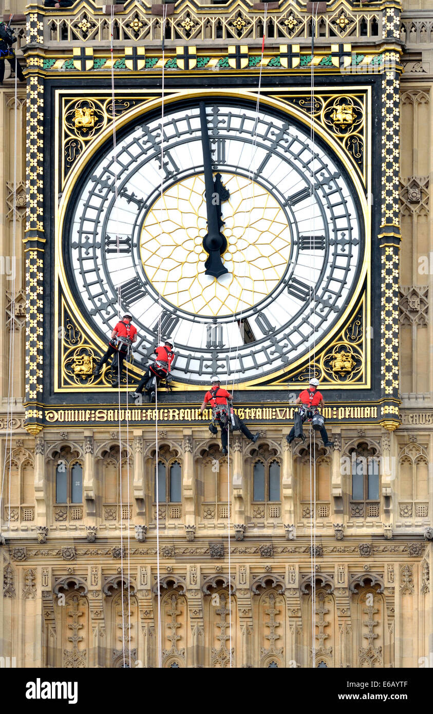 London Uk 19th Aug 2014 Cleaning The Clockfaces Of Big Ben For