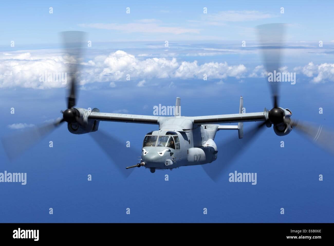 A U.S. Marine Corps MV-22B Osprey tiltrotor aircraft assigned to Marine Medium Tiltrotor Squadron (VMM) 163, 11th Stock Photo