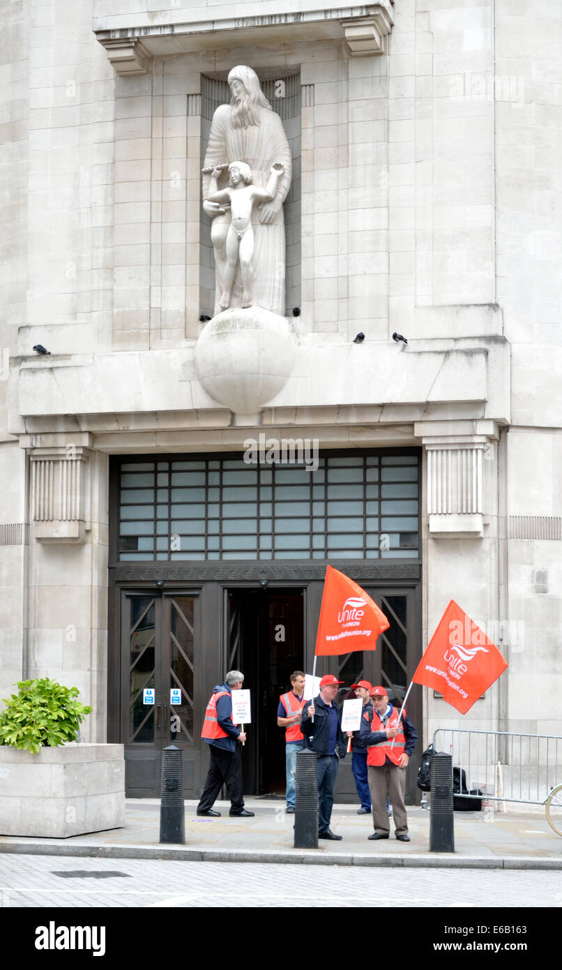 Unite the Union demonstrating outside the BBC Broadcasting House, in support of BBC engineers against job cuts proposed - Stock Image