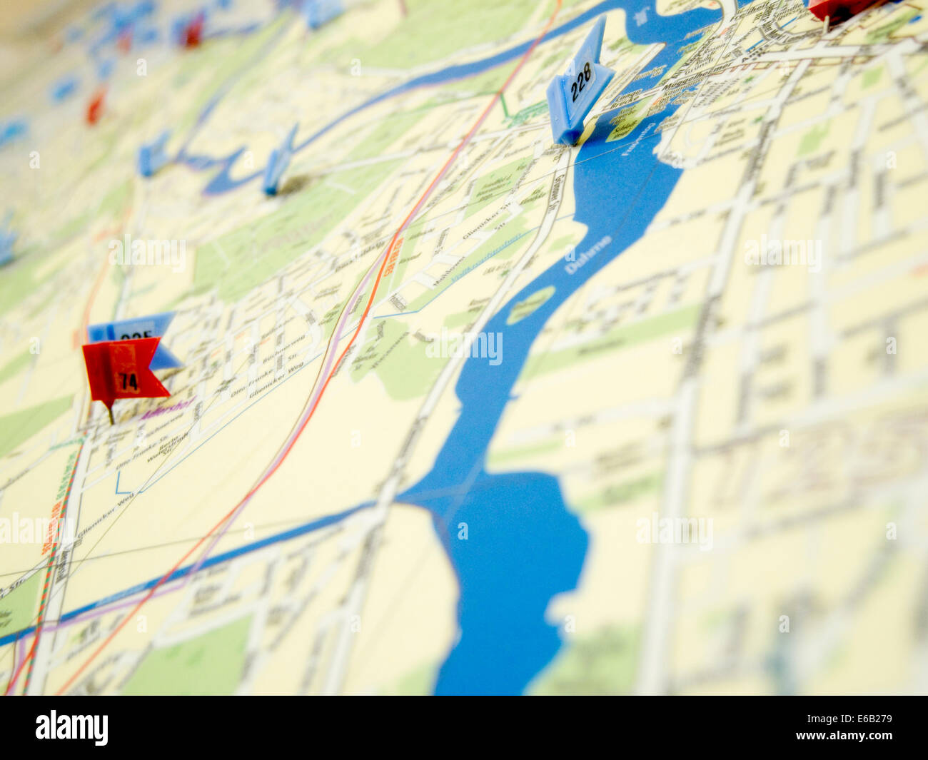 map,marker,road map - Stock Image