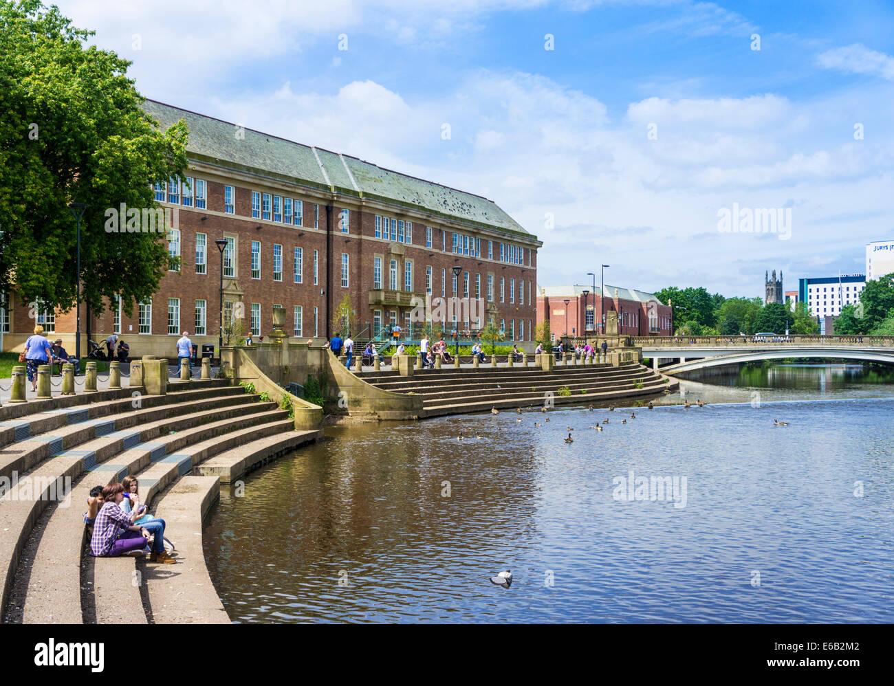 River Derwent and Council House Derby City Centre Derby Derbyshire England UK GB EU Europe - Stock Image