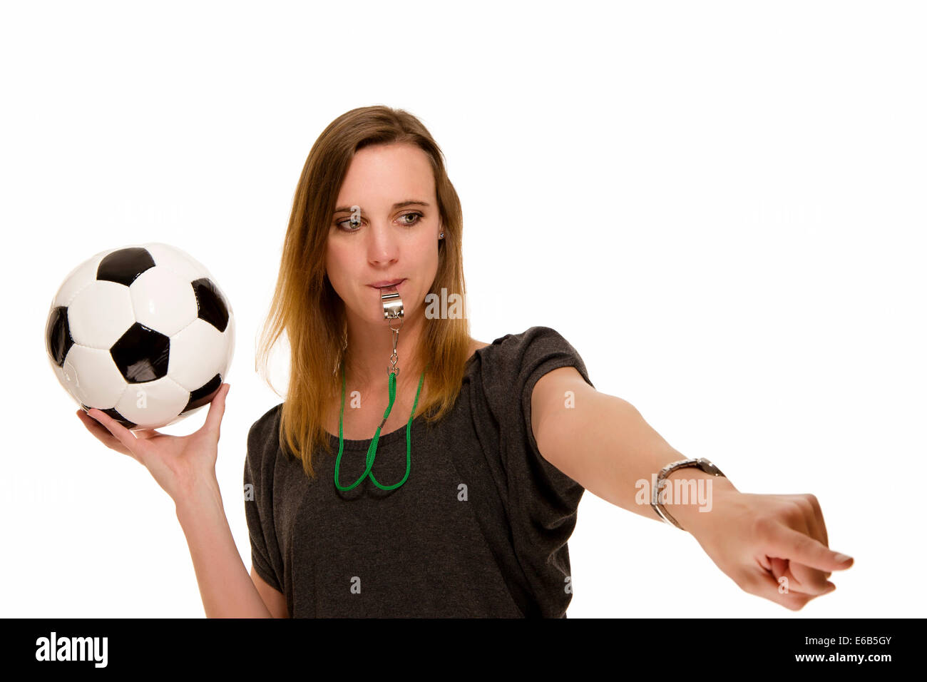 soccer,referee,whistle - Stock Image