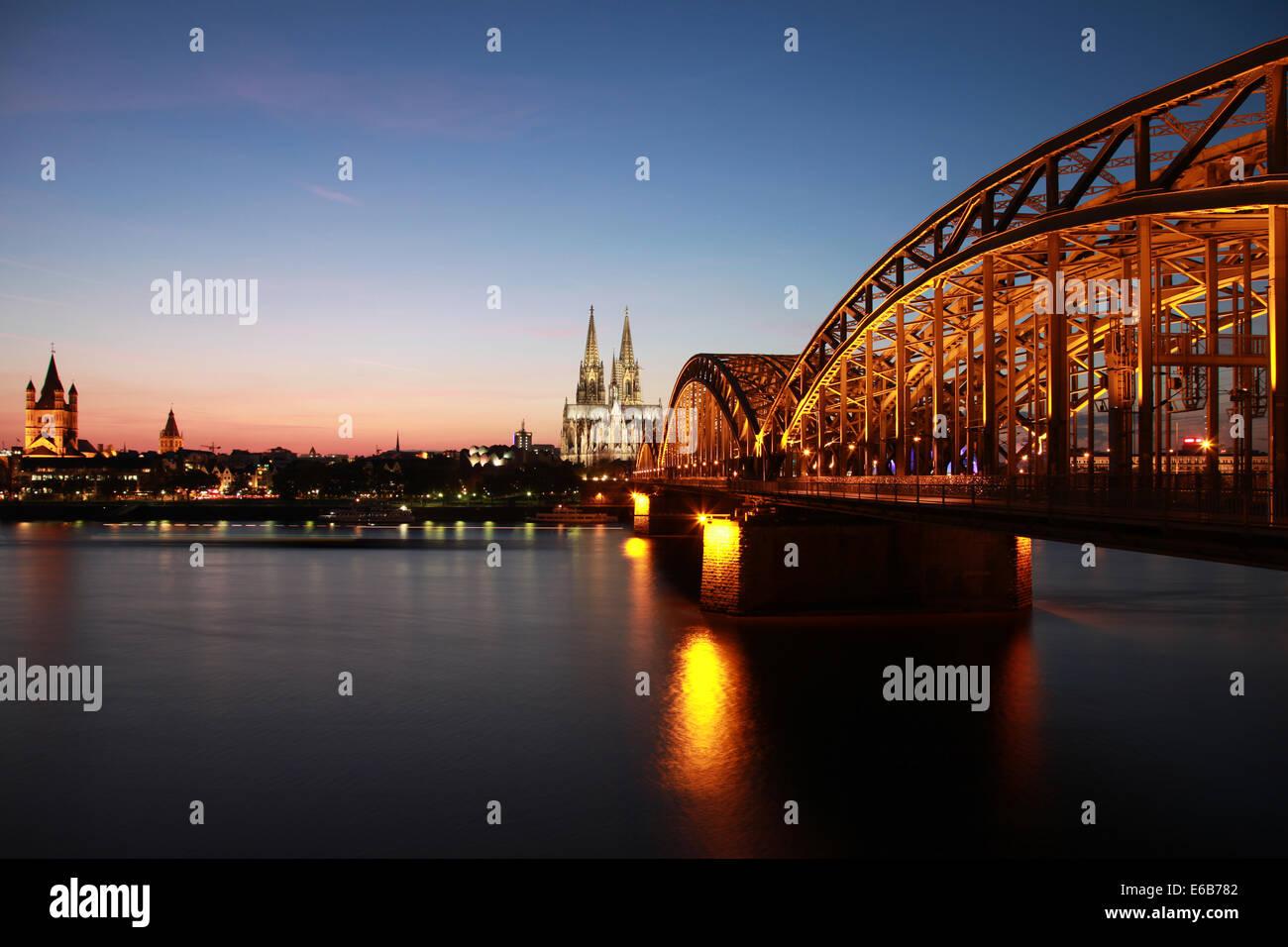 cologne,rhine river,hohenzollern bridge - Stock Image