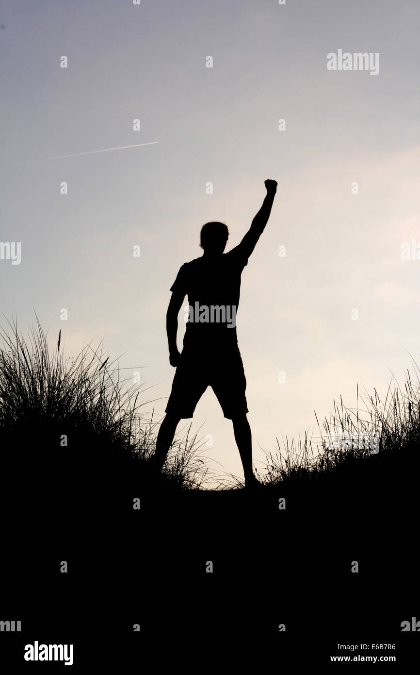 silhouette,ecstatic,posing - Stock Image