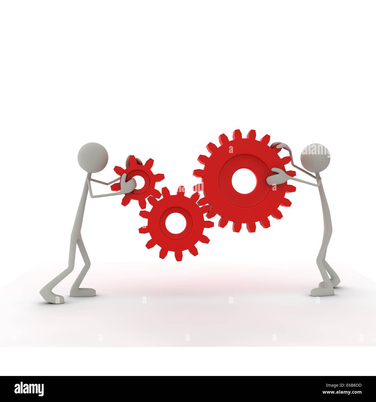 figurine,gear,teamwork - Stock Image