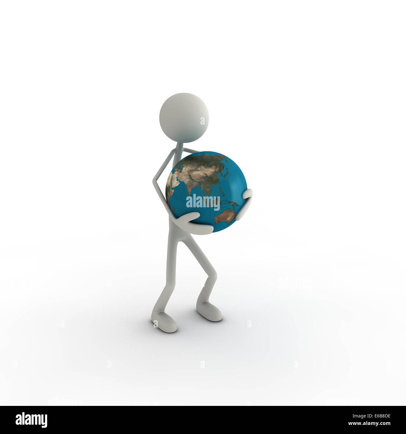 figurine,globe,responsibility - Stock Image