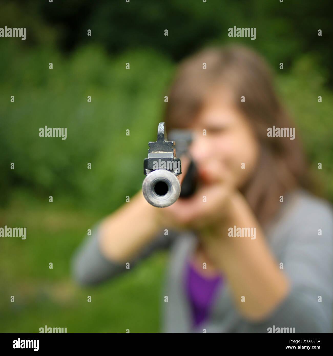 rifle,threaten,armed Stock Photo