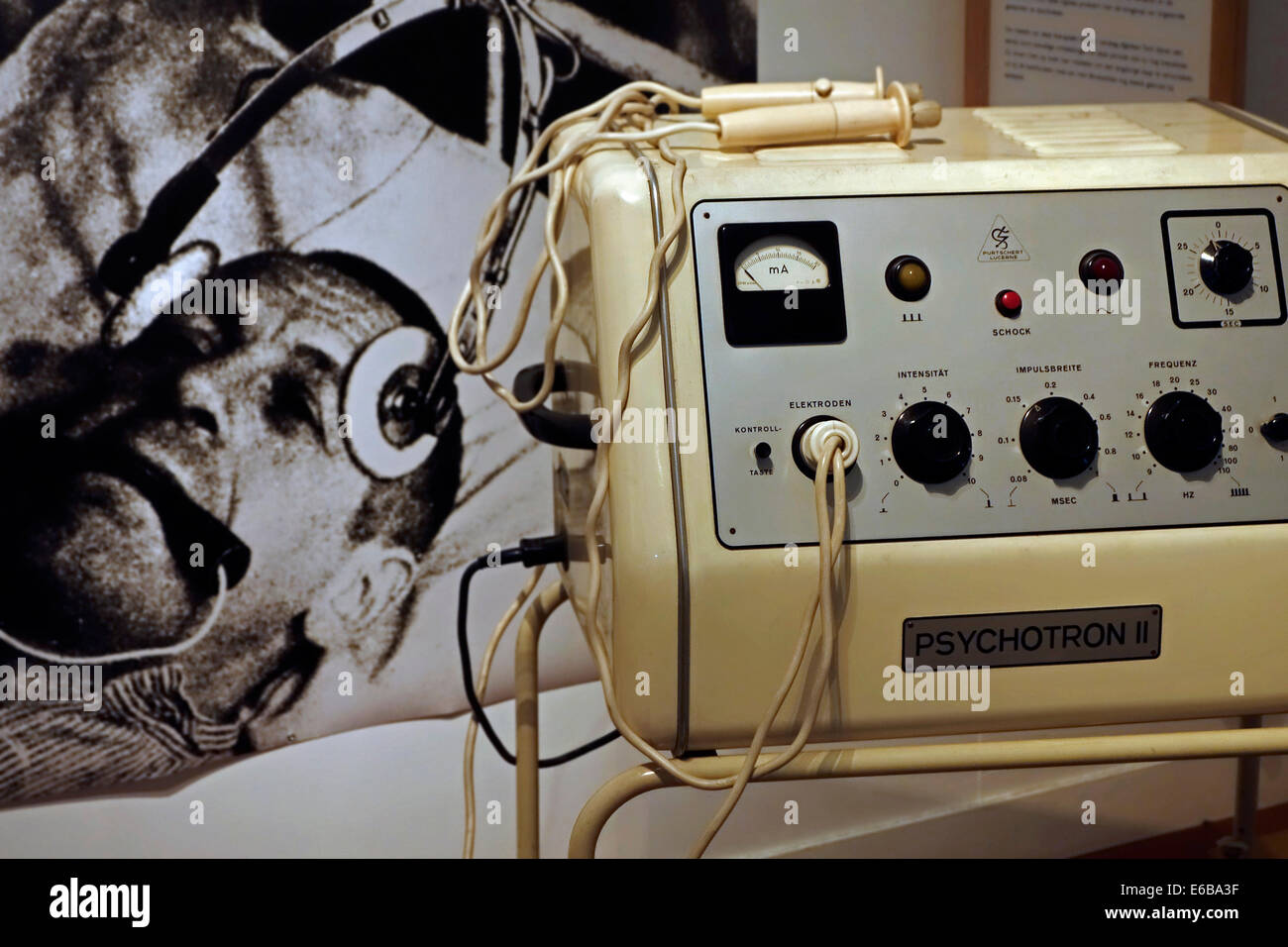 Psychotron II for electroshock therapy / electroconvulsive therapy / ECT, Dr Guislain Museum about psychiatry, Ghent, - Stock Image