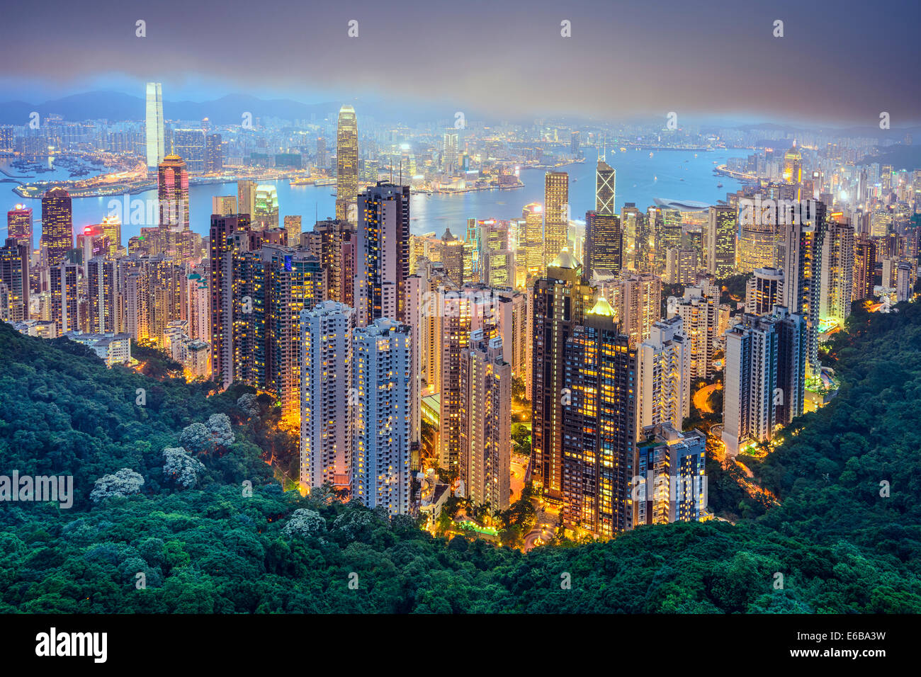 Hong Kong, China city skyline from Victoria Peak. - Stock Image