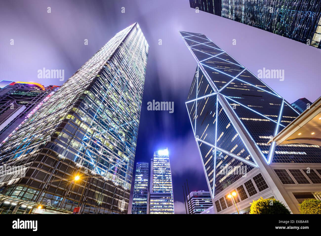 Hong Kong, China upward view of the CBD financial district. - Stock Image