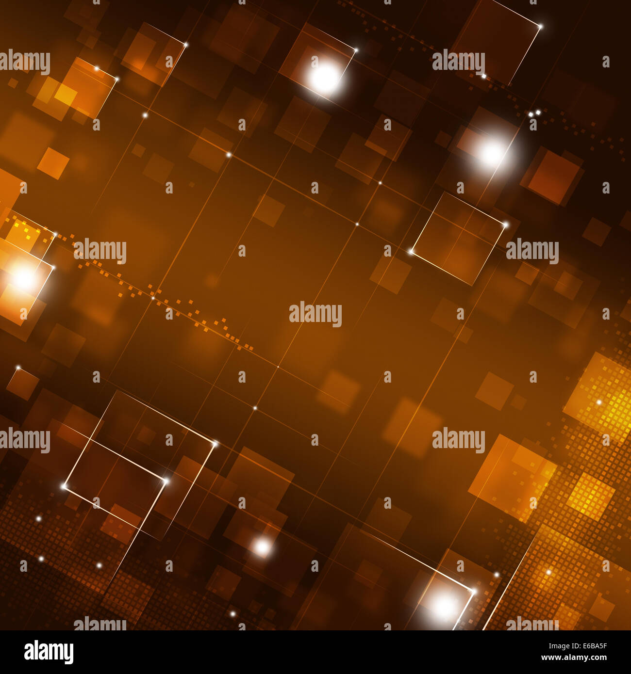 abstract red square dots and lights technology background - Stock Image