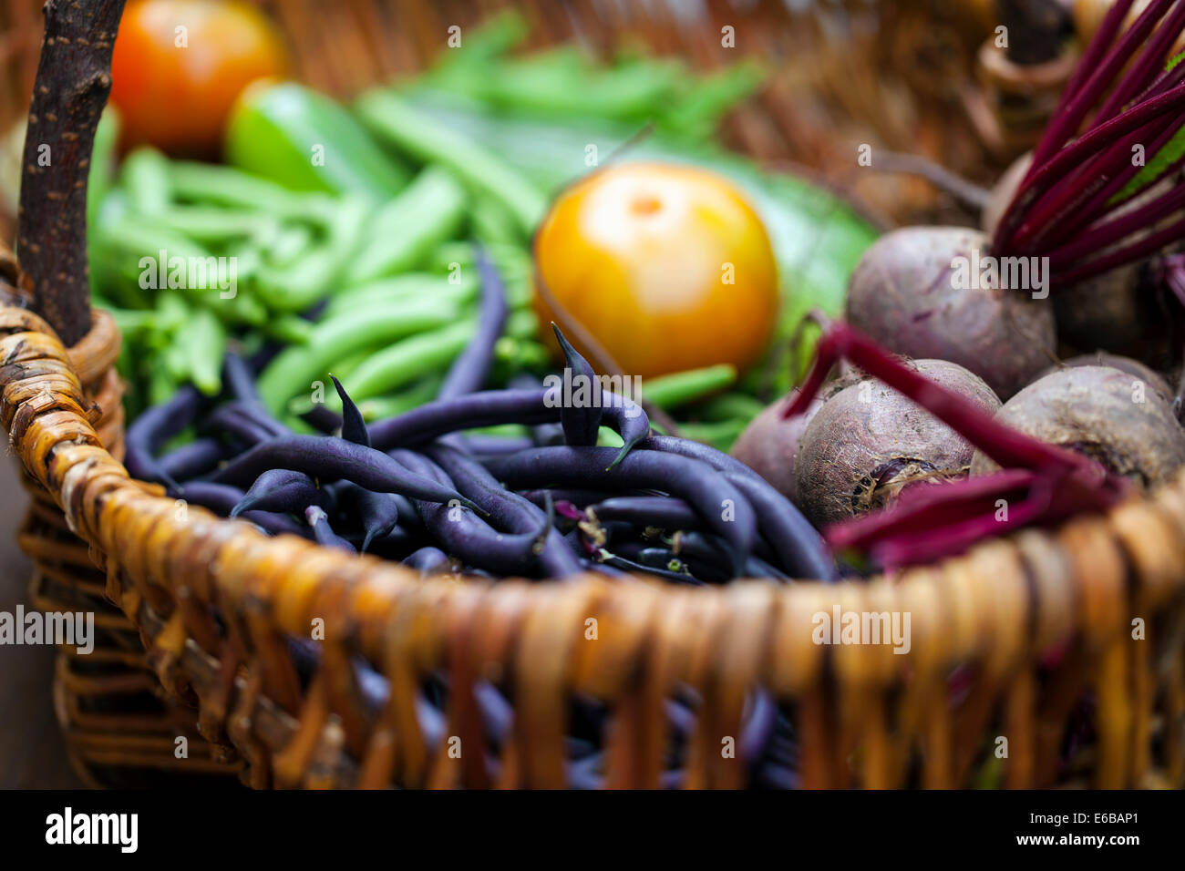 Vegetables in the wicker basket - Stock Image