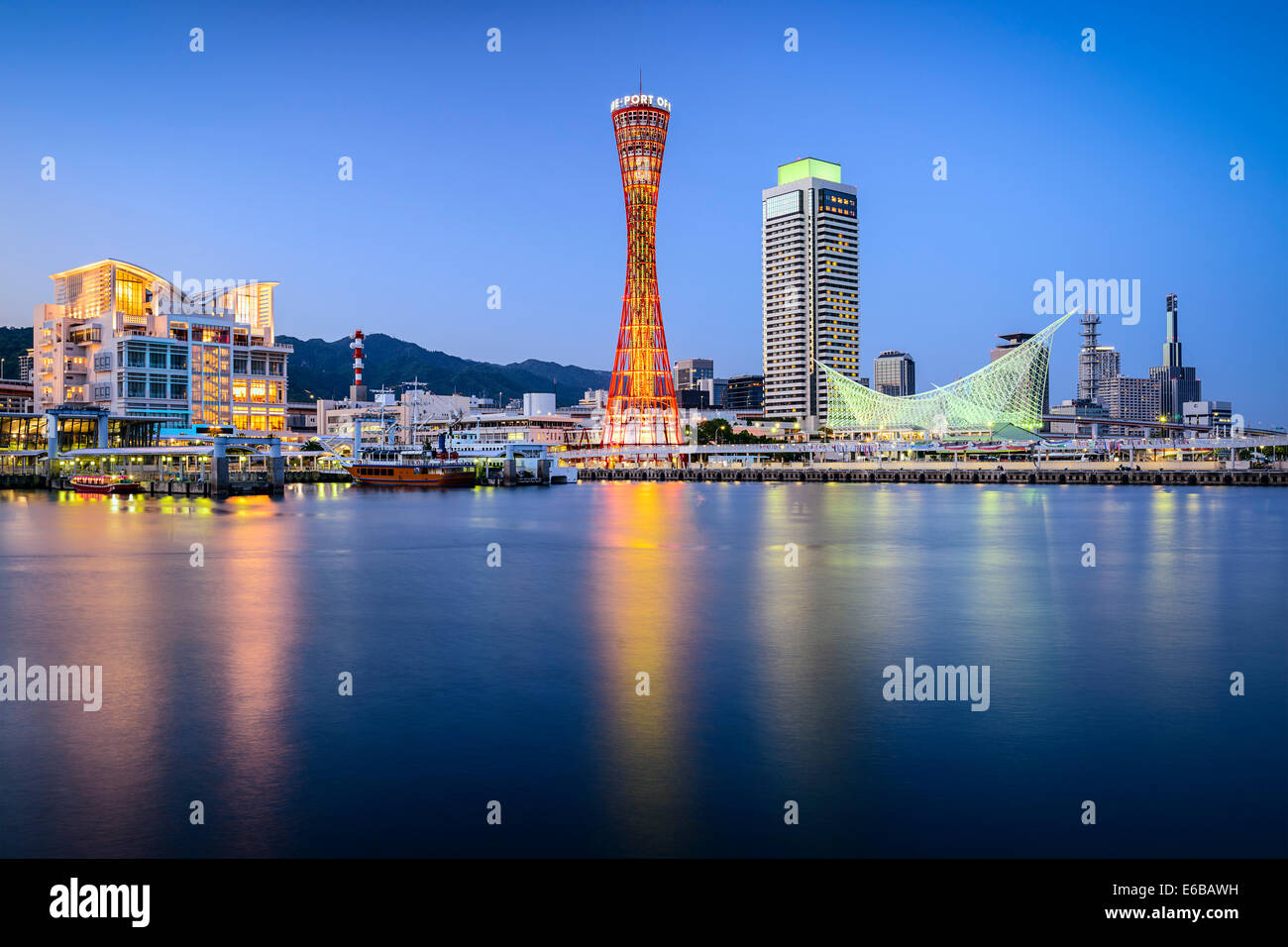 Skyline of Kobe, Japan at the port. - Stock Image