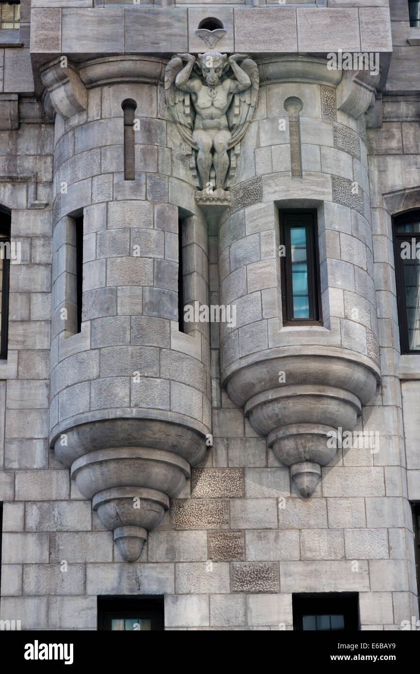 ornamental turrets on the side of a hotel in montreal - Stock Image
