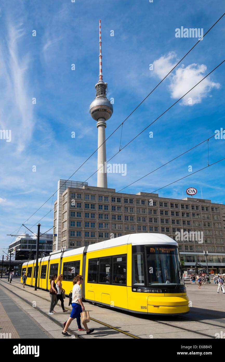 Public tram in Alexanderplatz in Mitte Berlin Germany - Stock Image