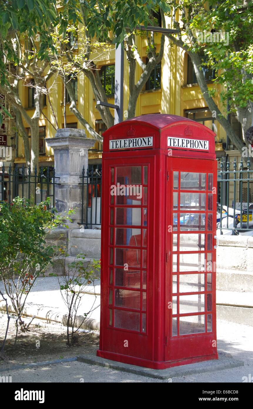 Red UK telephone box in France - Stock Image