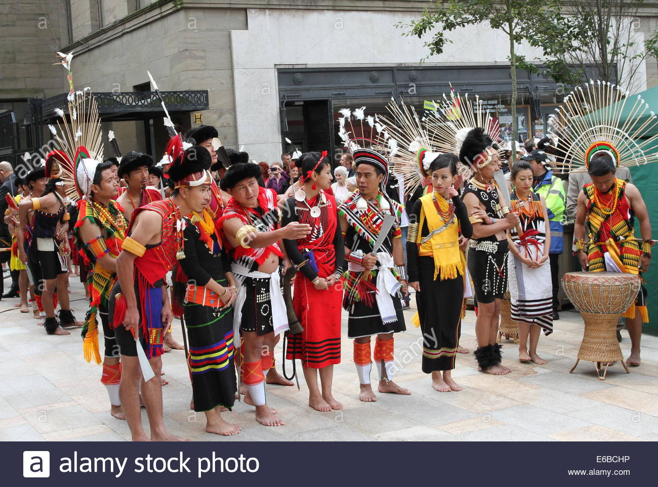 Dundee, Scotland, UK. 19th August, 2014. Nagaland's Folkloric ensemble wait to perform at City Square. Hundreds - Stock Image