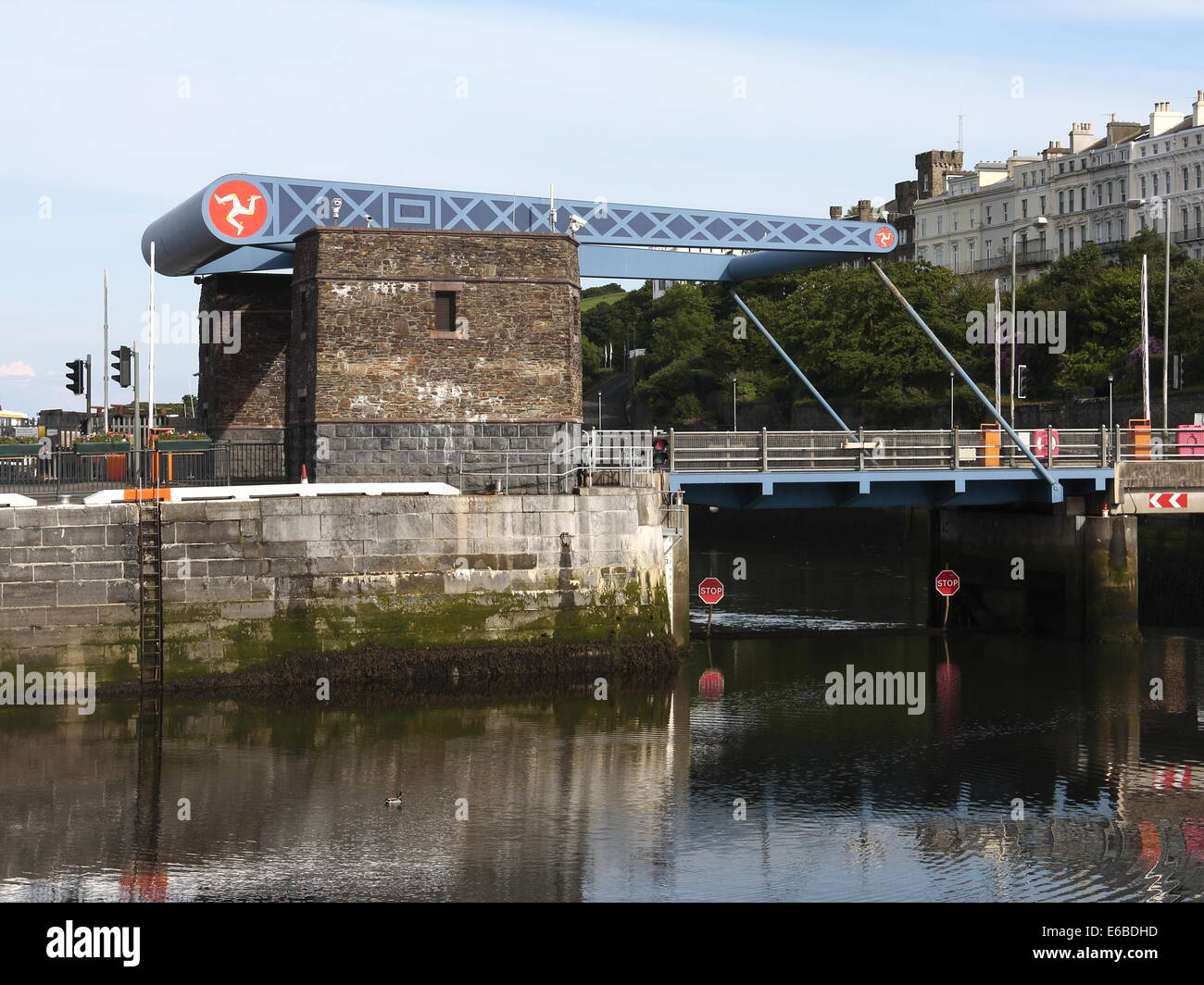 A Bascule bridge at the entrance to Douglas inner harbour, on the Isle of Man. - Stock Image