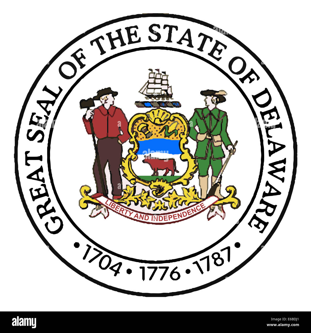 The Great Seal of Delaware over a white background - Stock Image