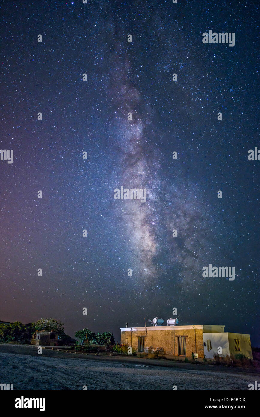 Milky Way over cyprus village - Stock Image