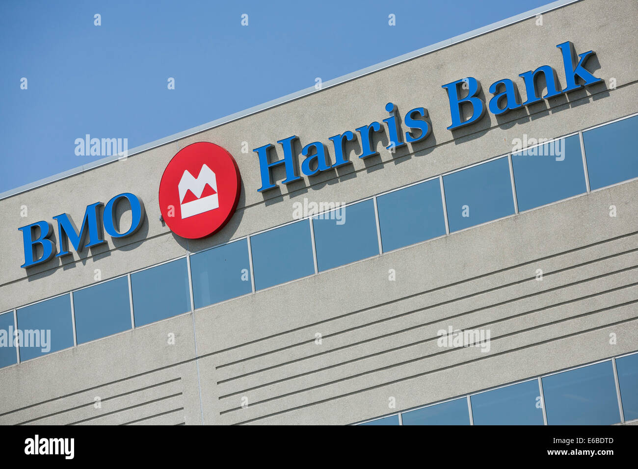 An office building occupied by BMO Harris Bank in Naperville, Illinois. - Stock Image