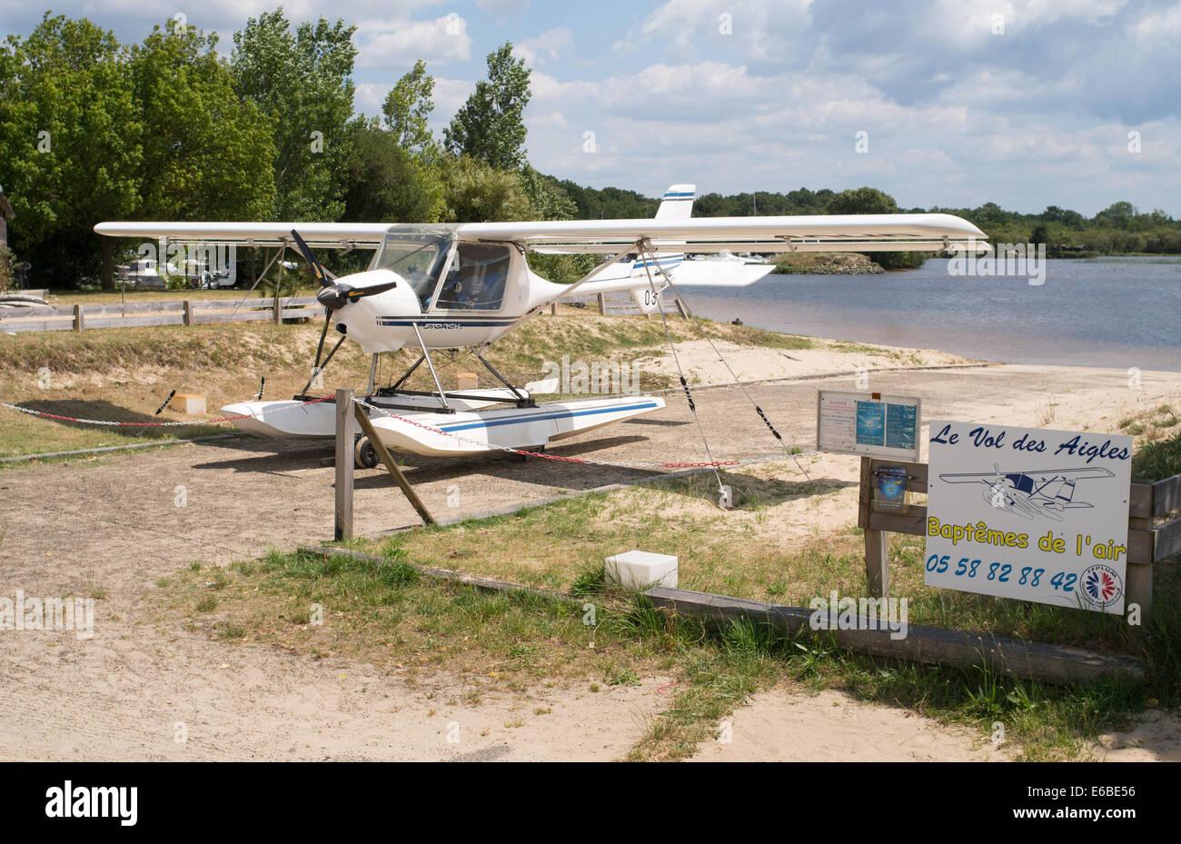 Storch flying boat Biscarrosse lake, Landes, Aquitaine, France, Europe - Stock Image