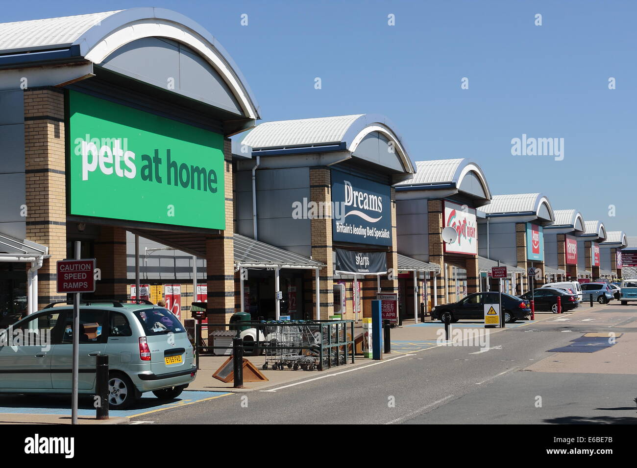 The Airport retail park, at the entrance to London Southend airport. - Stock Image