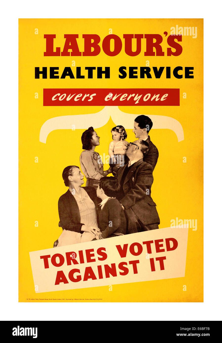 Vintage 1948 post war UK poster promoting Labour's Health Service initiative - Stock Image