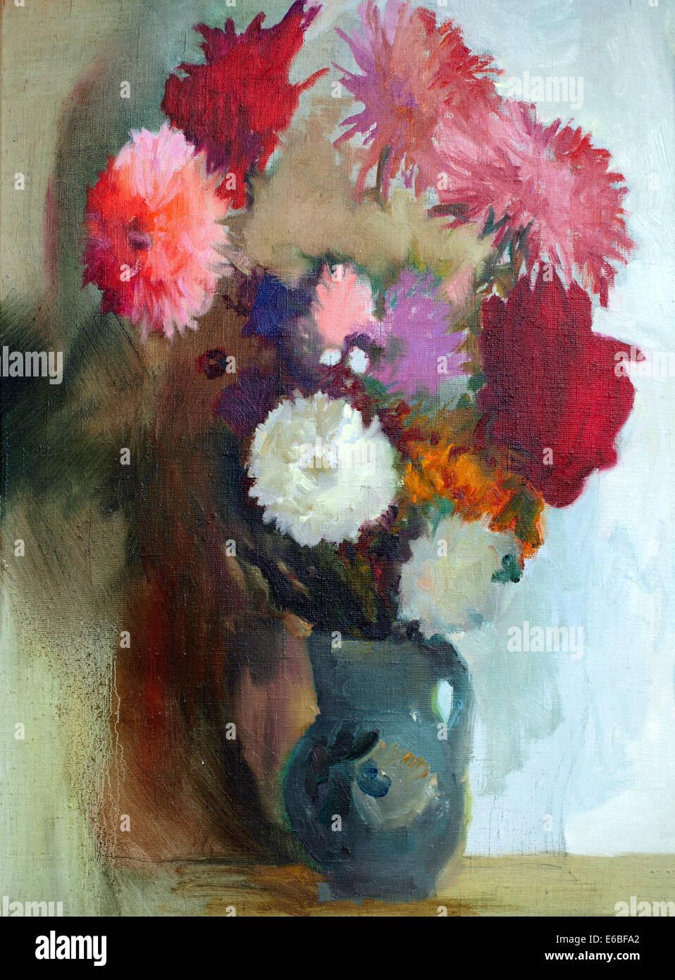 Oil Painting Beautiful Flowers Stock Photos Oil Painting Beautiful