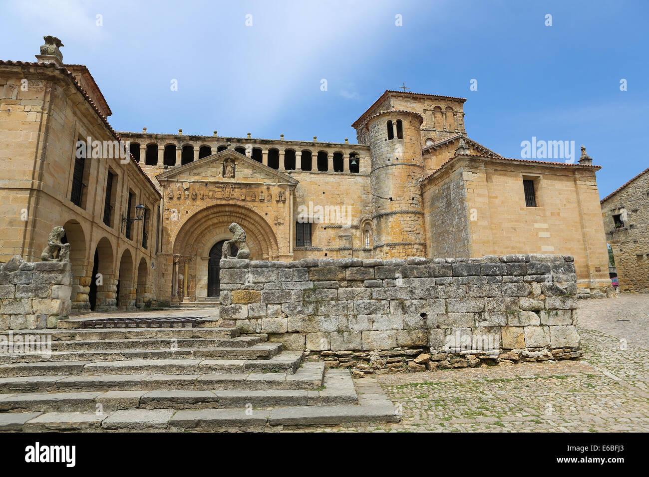 The Colegiata, a famous religious building in Santillana del Mar, a historic town in Cantabria, Spain. - Stock Image
