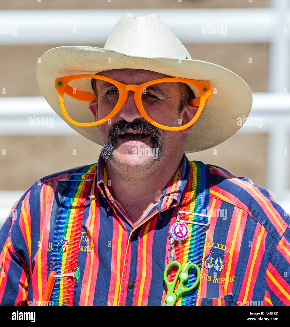 Clown, Chaffee County Fair & Rodeo, Central Colorado, USA - Stock Image