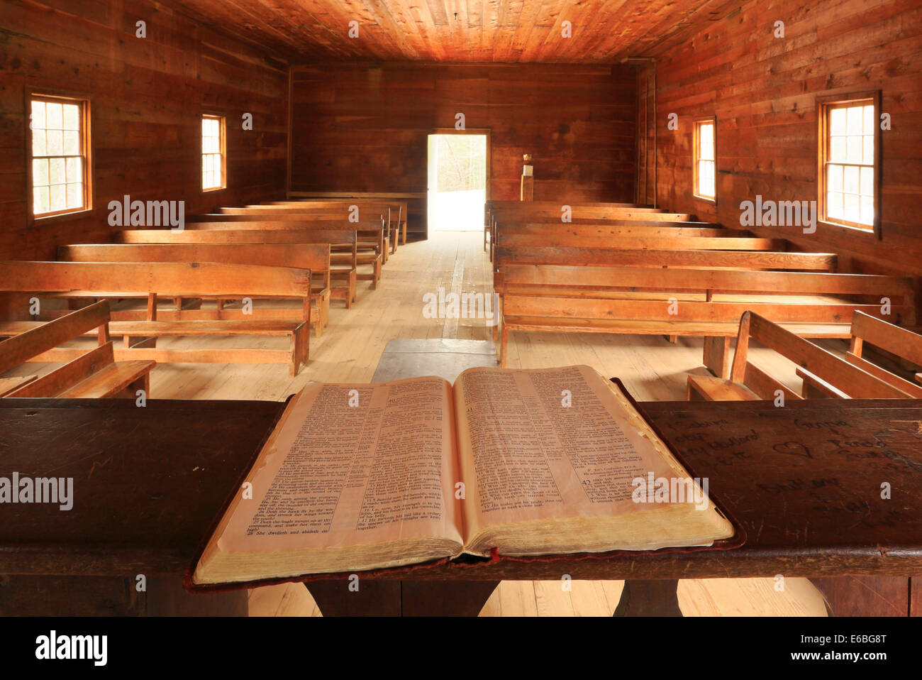 Primitive Baptist Church, Cades Cove, Great Smoky Mountains National Park, Tennessee, USA - Stock Image