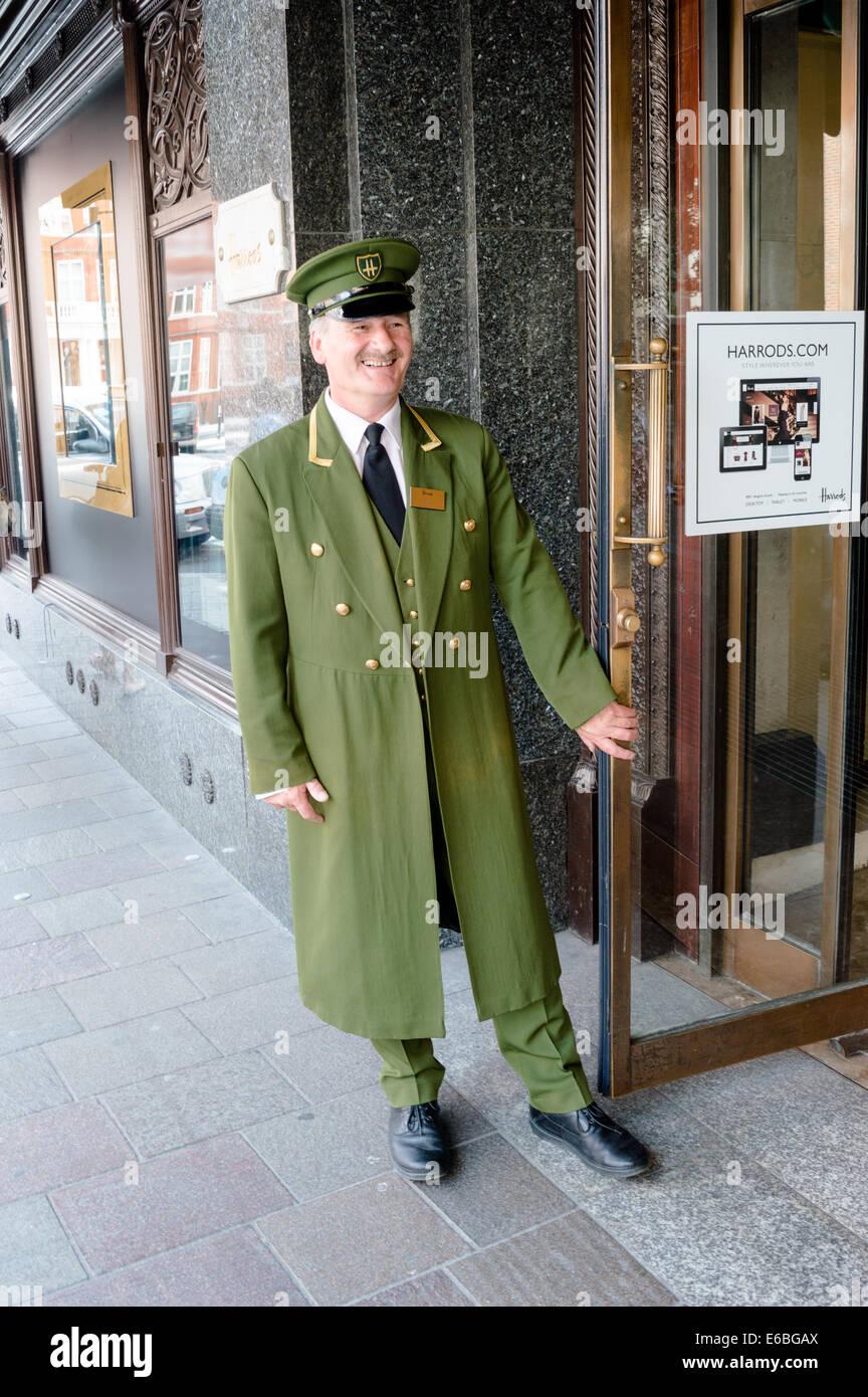 Harrods doorman holding store door open. Knightsbridge London. - Stock Image & Doorman Opening Door Stock Photos u0026 Doorman Opening Door Stock ...