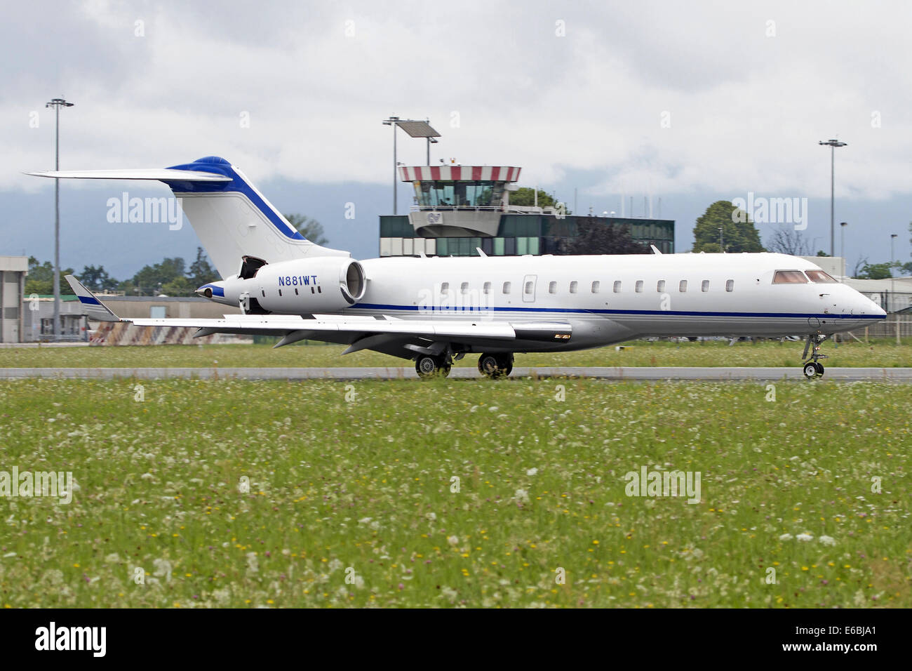 Bombardier BD-700 1A10 Global Express at Turin Airport, Italy. - Stock Image