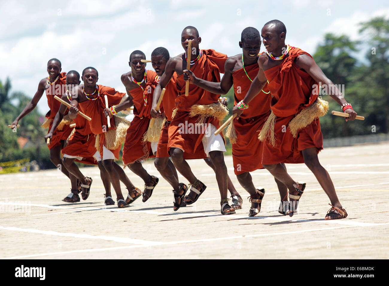 Traditional dancers entertain guests in Uganda, Kampala  Music and