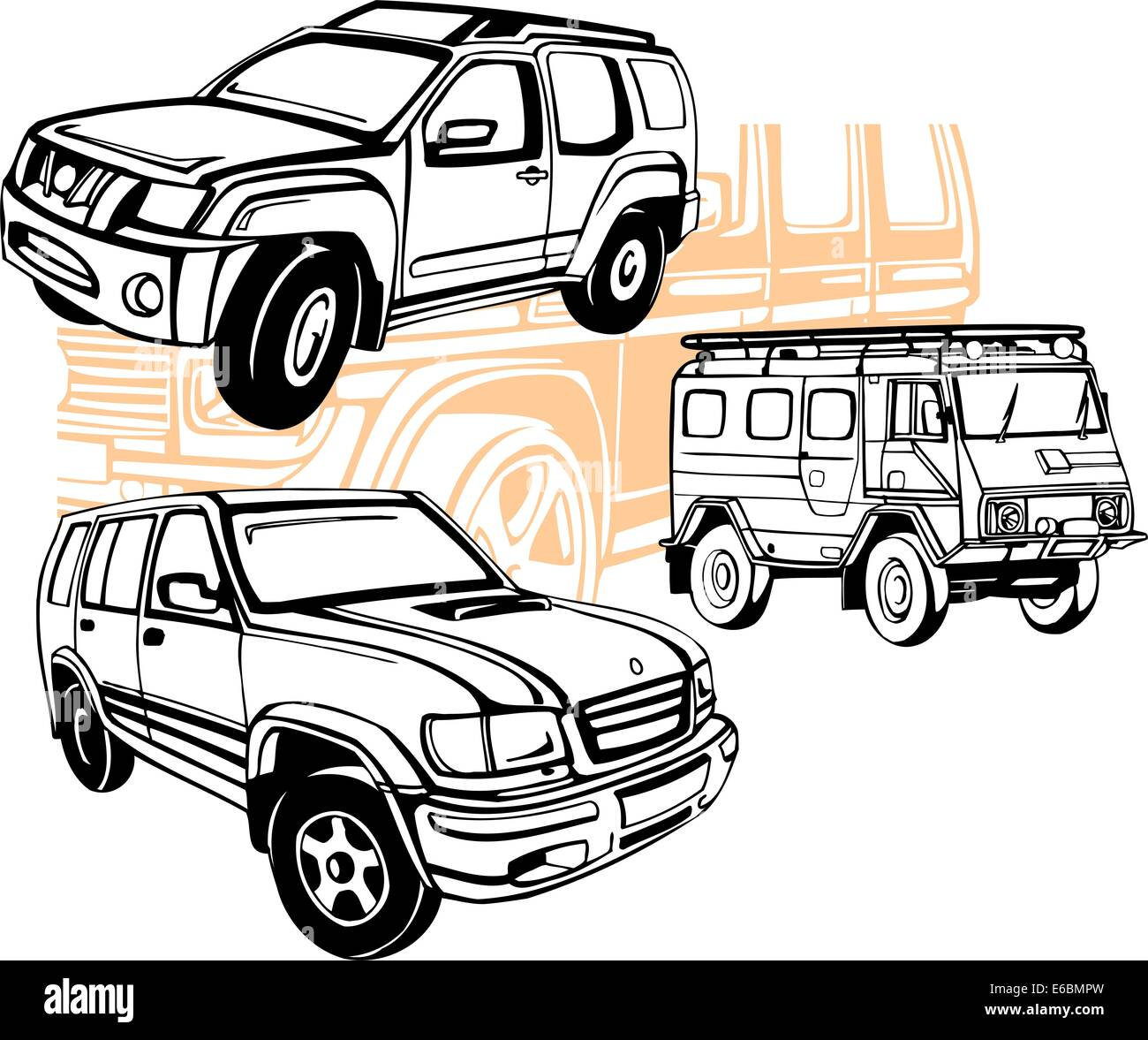 Off-Road Cars - Vector set. - Stock Image