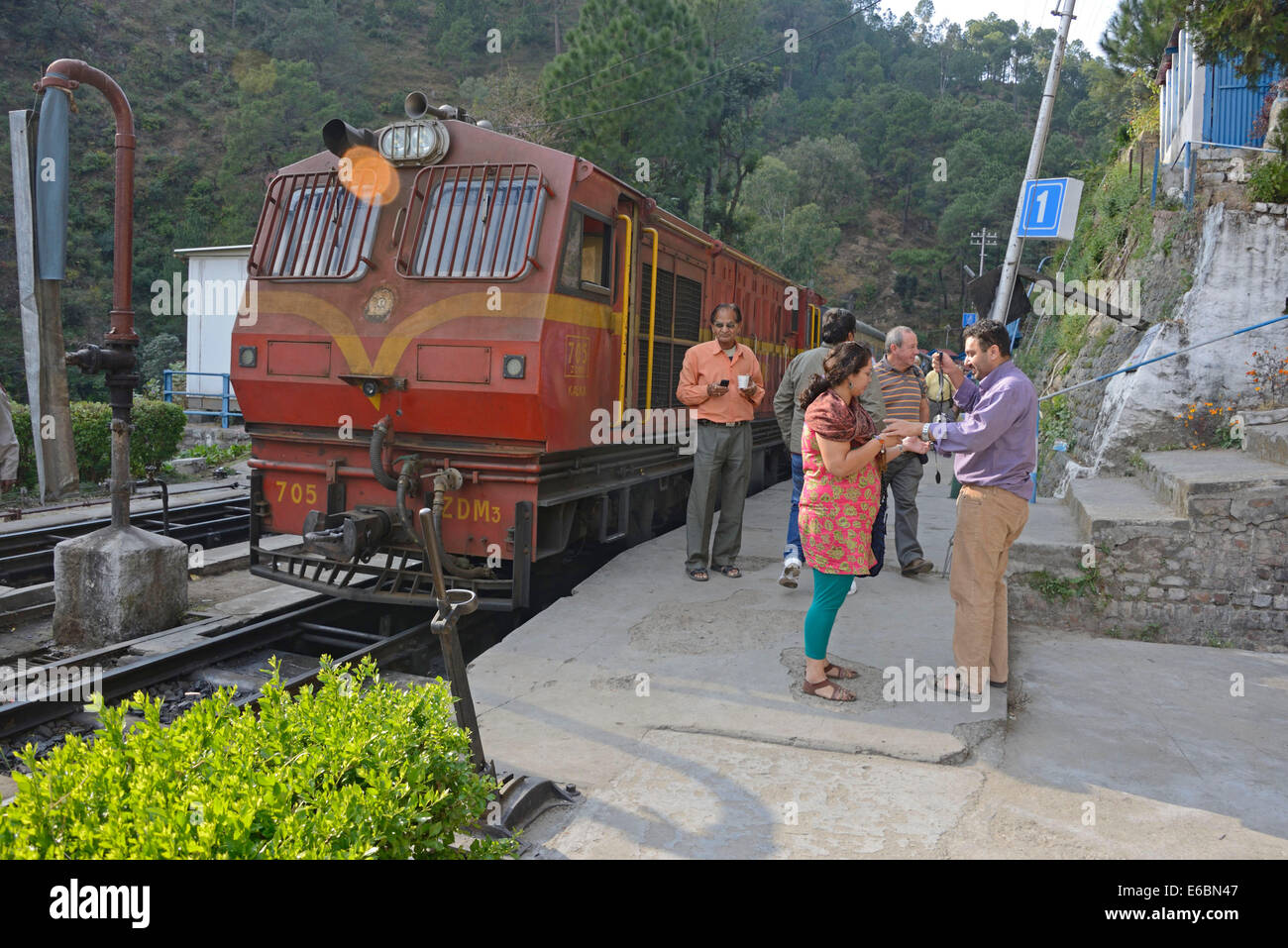 The Himalayan Queen train at Barog station on the Kalka-Shimla 96 km long railway track in Himachal Pradesh, India. - Stock Image