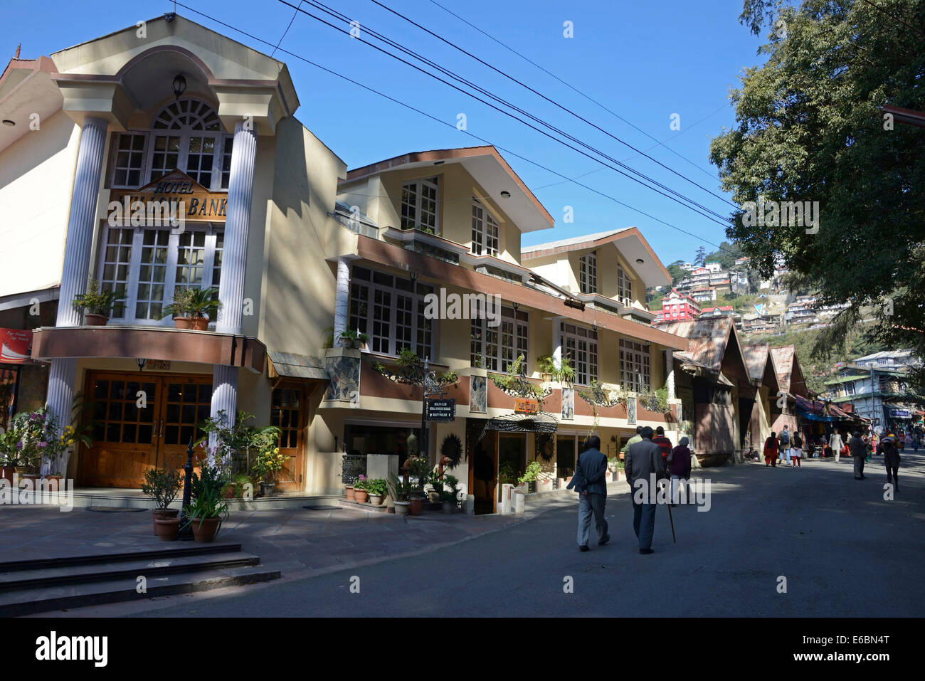 A modern building of a hotel in Mall Road at Shimla in Himachal Pradesh,India - Stock Image
