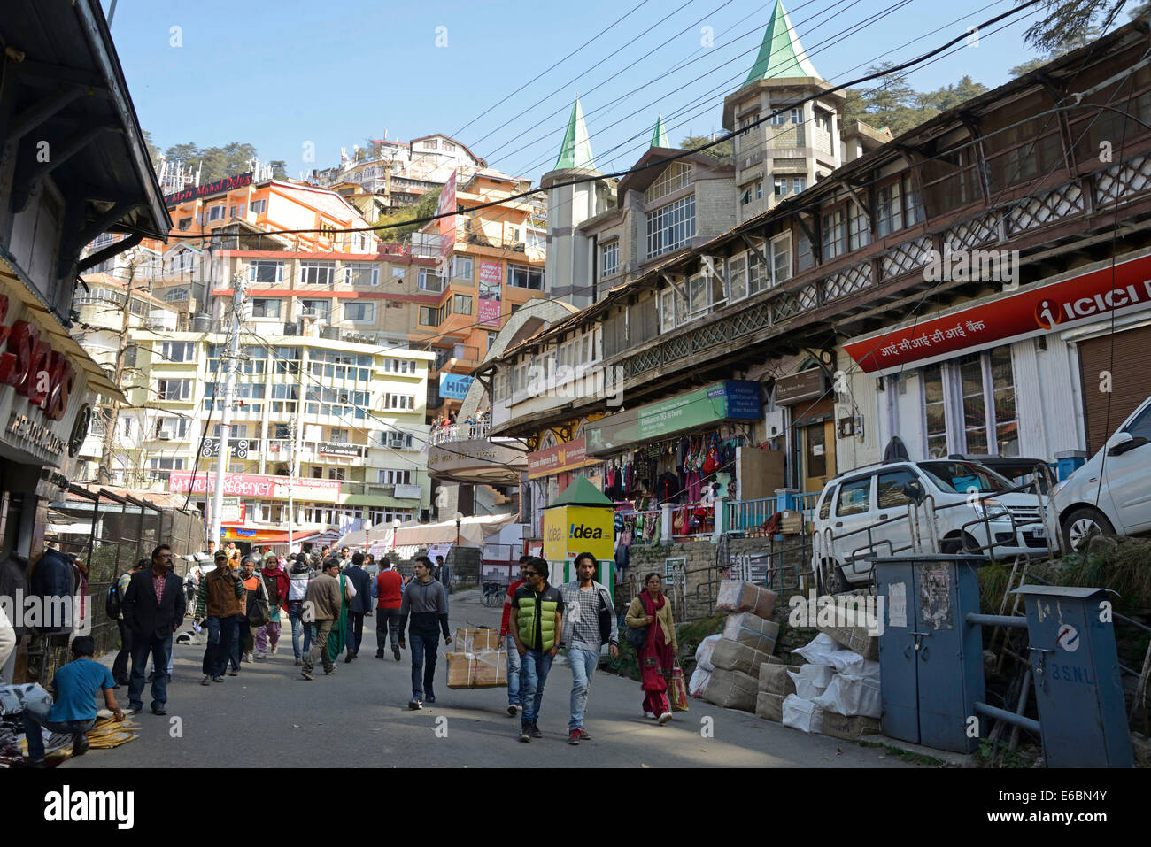 Mall Road  in Shimla is a popular tourist attraction in Himachal Pradesh,India - Stock Image