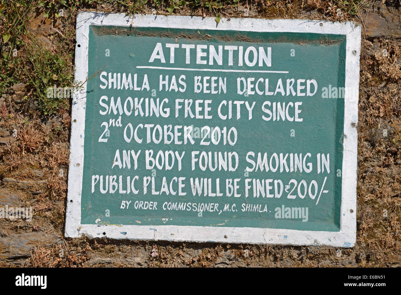 A no-smoking ban in Shimla, Himachal Pradesh,India - Stock Image