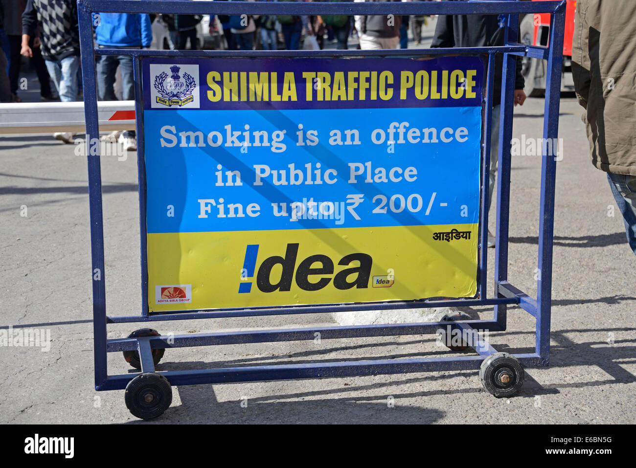A no-smoking sign on Mall Road  in Shimla in Himachal Pradesh,India - Stock Image