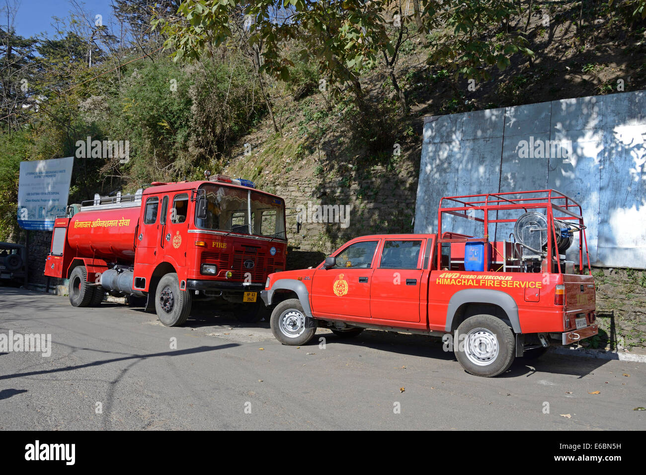 Twio Indian fire appliances made by Tata in Shimla in Shimla,Himachal Pradesh,India, - Stock Image